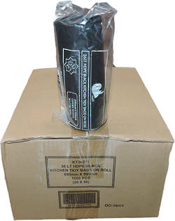36L HDPE BAG BLACK ROLL 1000PCS - KT36211